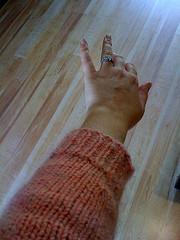 Pink sleeve ribbing