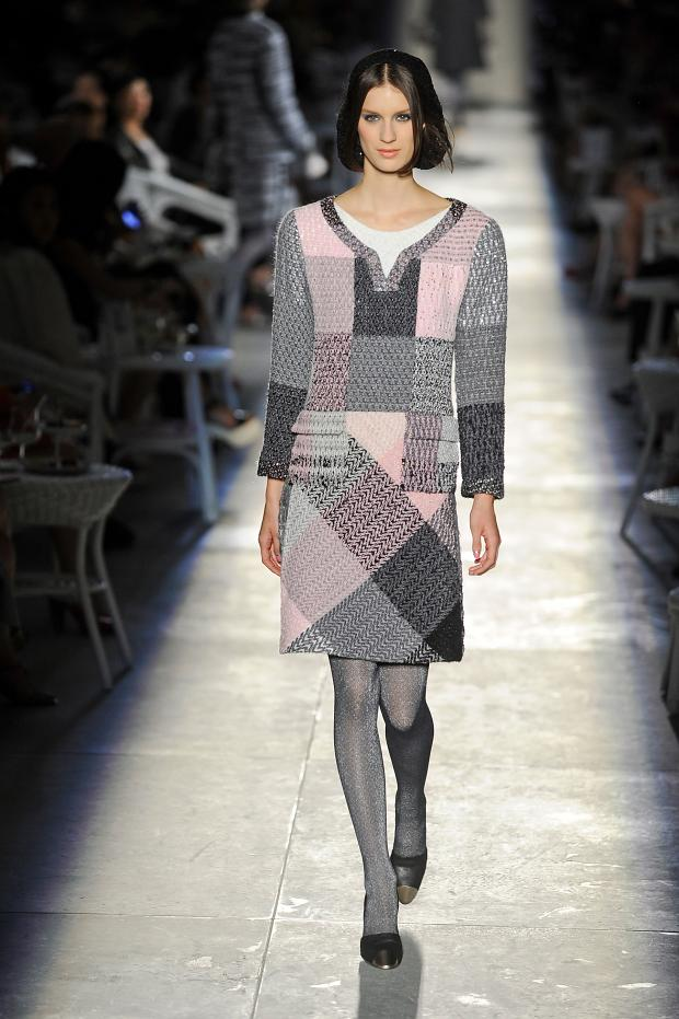 Pink and grey patchwork dress