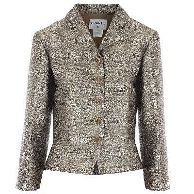 Chanel silver lame evening suit jacket