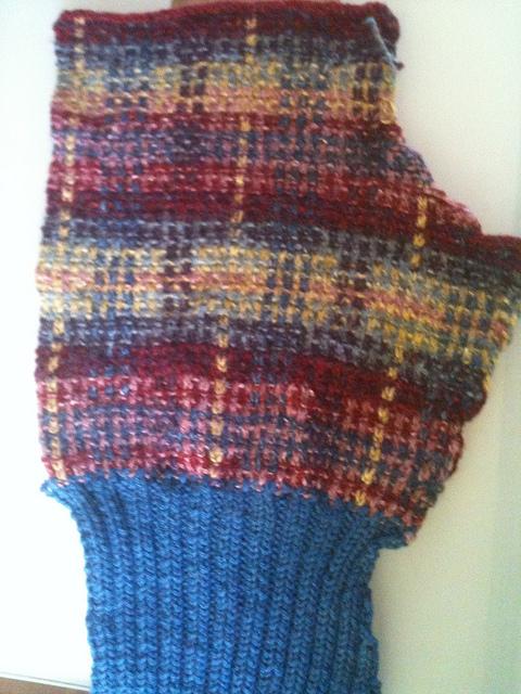 Duplicate stitch on slip stitch