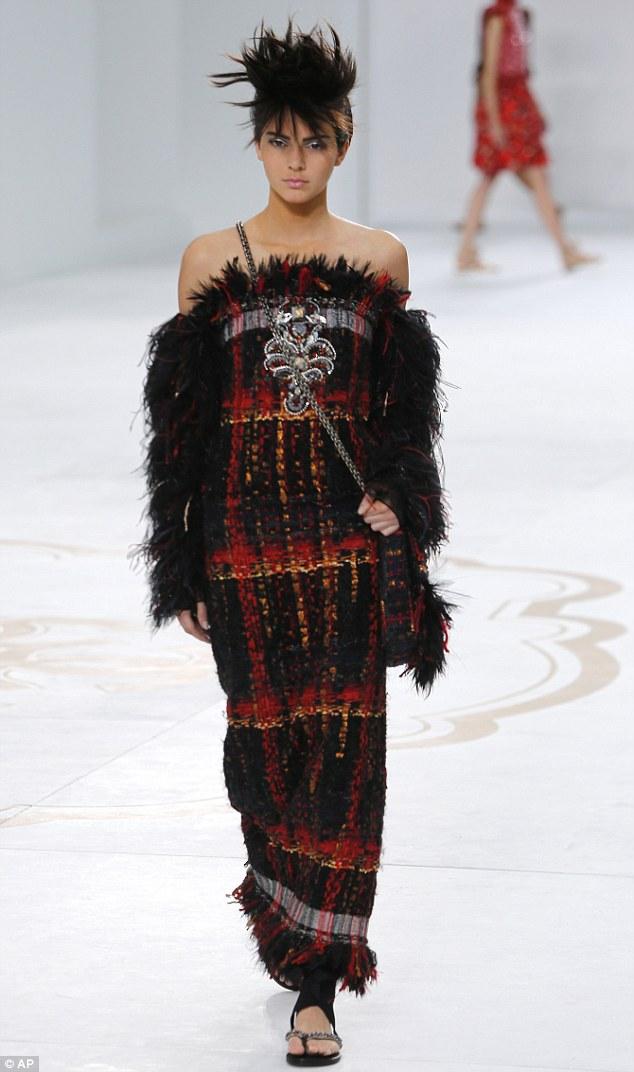 2014 Chanel orange plaid dress