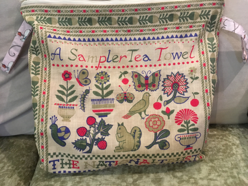 Sampler tea towel bag couch