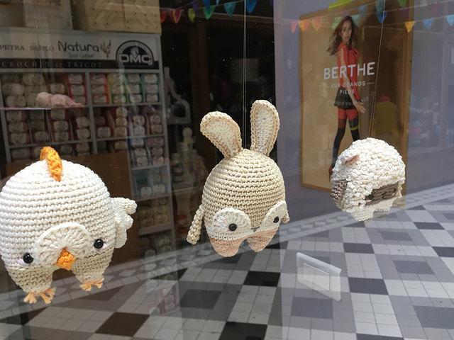 Crocheted anigarumi in window