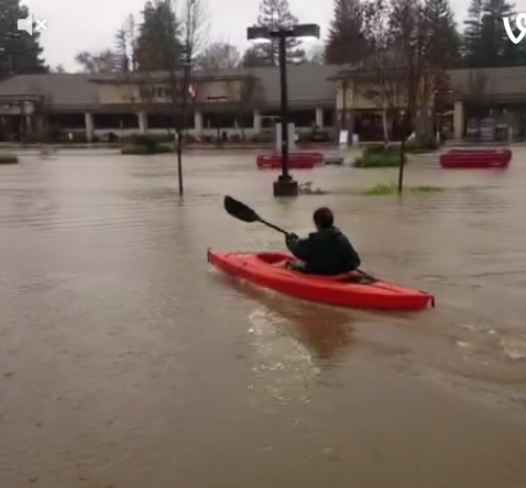 Paddling in Healdsburg flood
