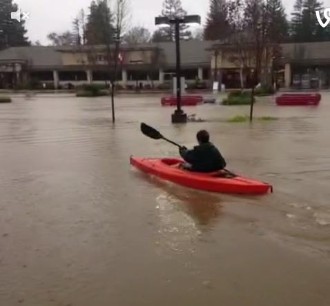 Paddling in Healdsburg flood