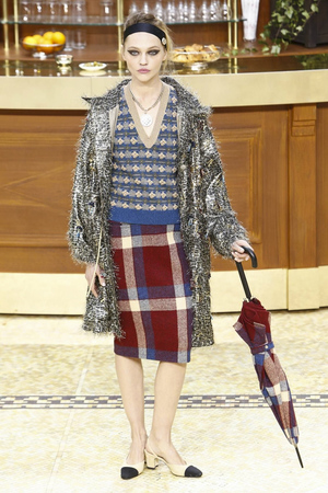 Chanel-plaid skirt and top