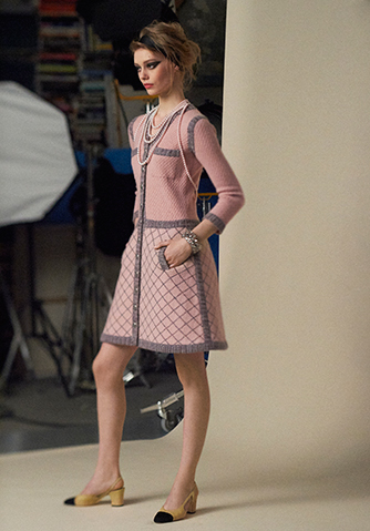 Chanel pink and grey dress from front