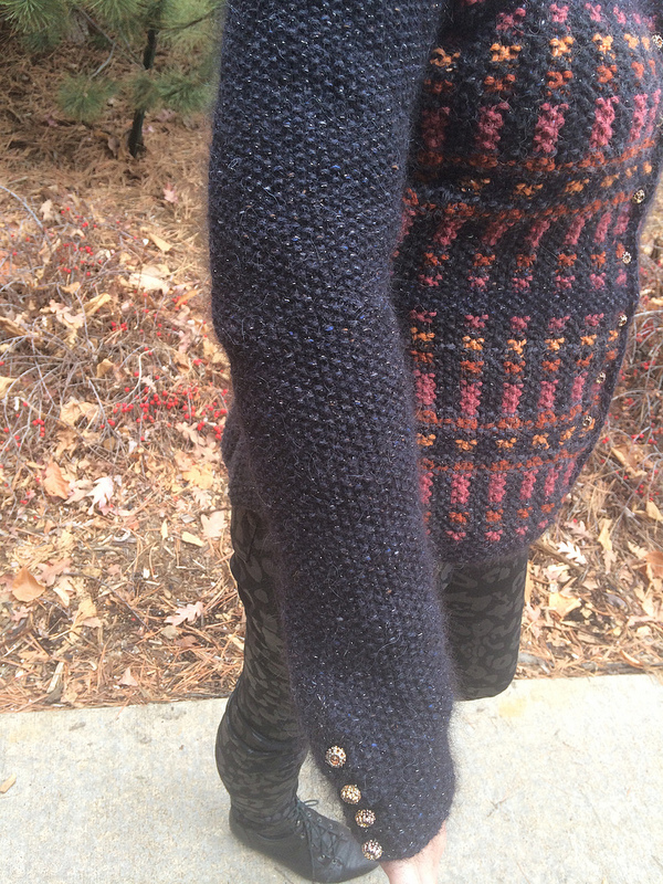 Closeup of finished sleeve w buttons