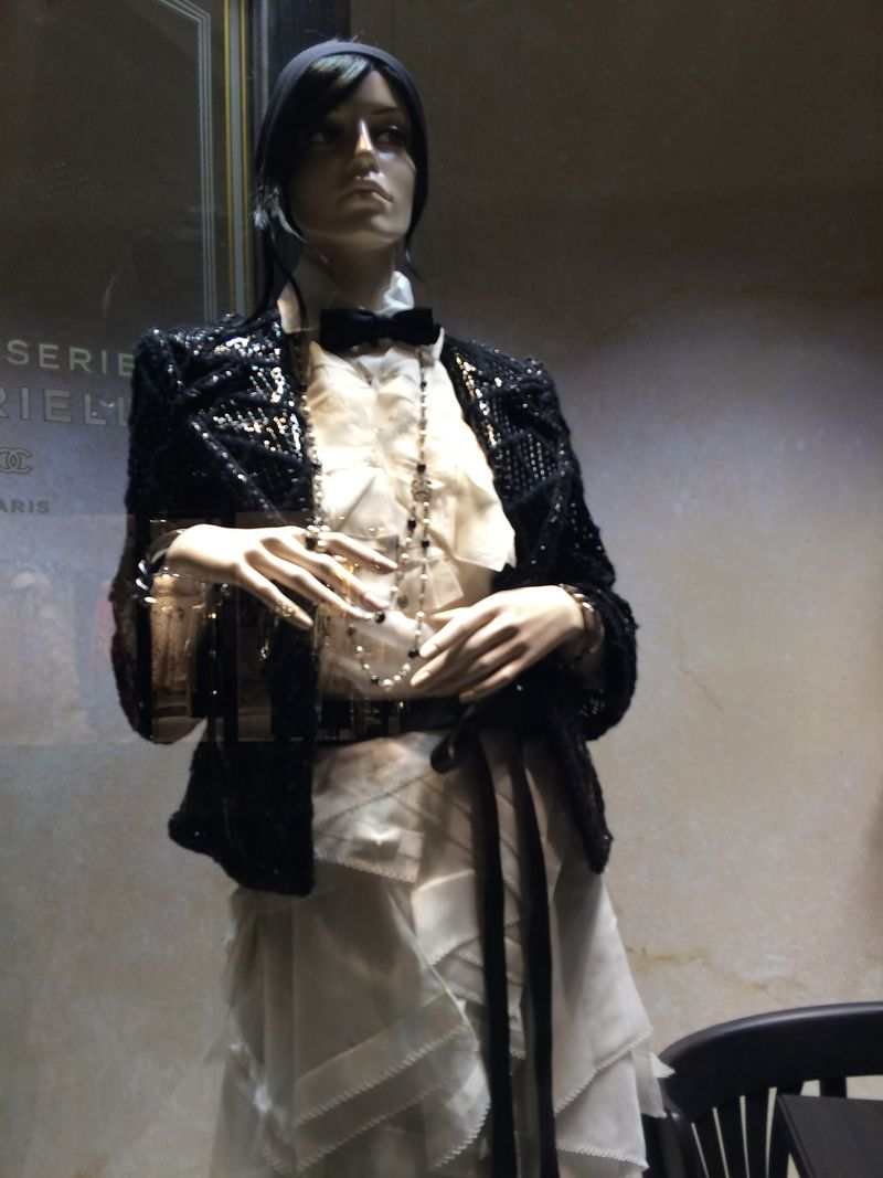 Mannequin in leather beaded jacket