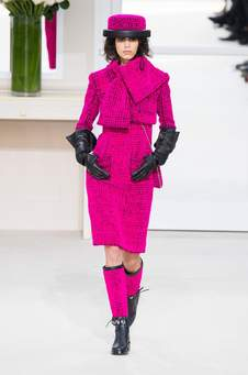 Chanel pink suit w matching scarf