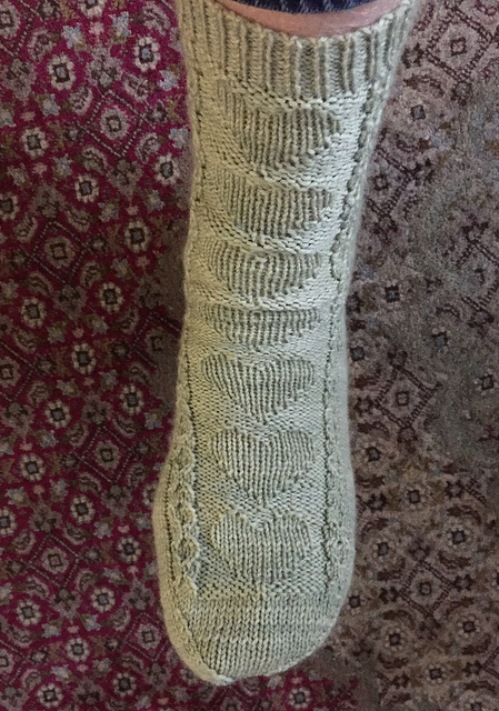Valerie's enduring hearts sock in celery