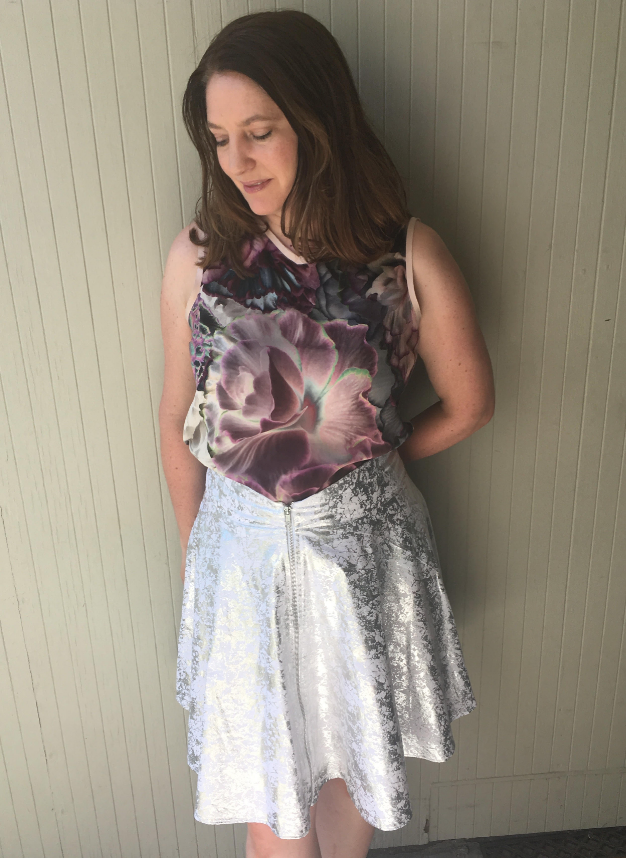 Silver zip front skirt look down